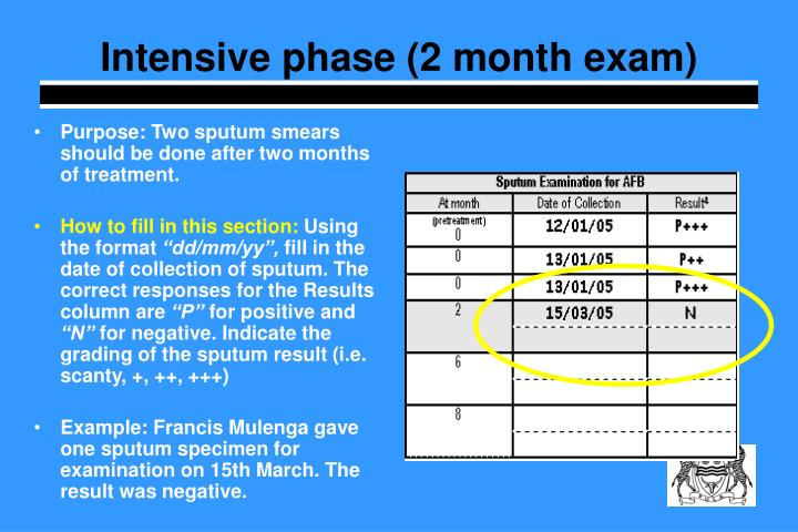 Intensive phase (2 month exam)