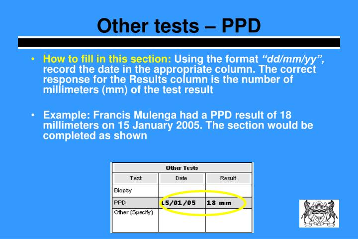 Other tests – PPD