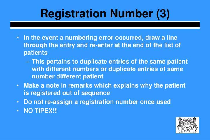 Registration Number (3)