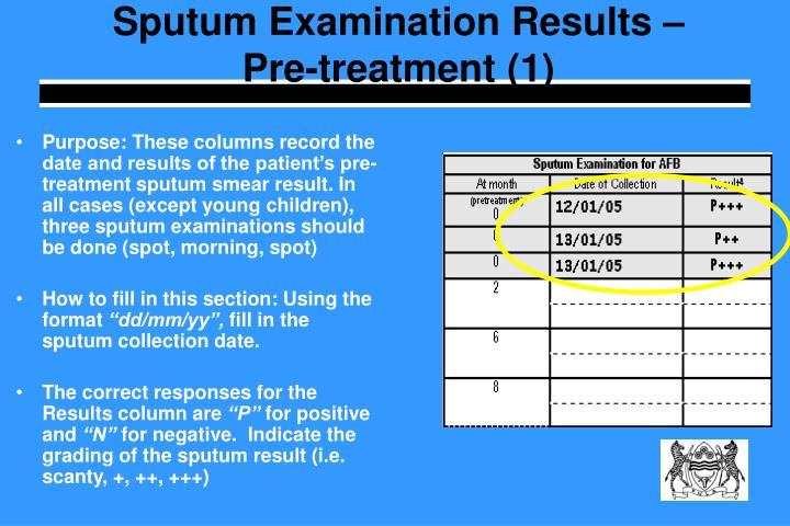 Sputum Examination Results – Pre-treatment (1)