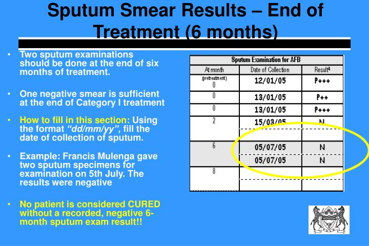 Sputum Smear Results – End of Treatment (6 months)