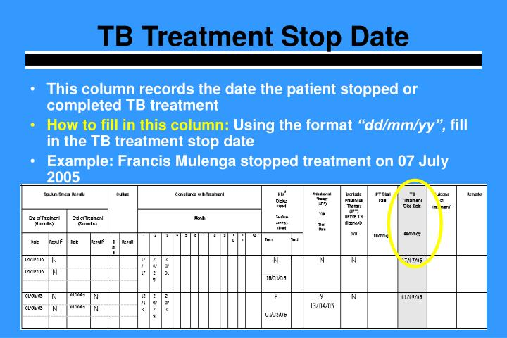 TB Treatment Stop Date