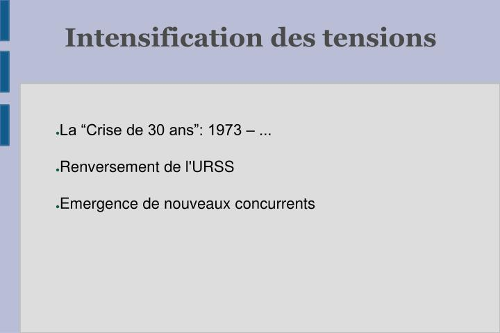 Intensification des tensions