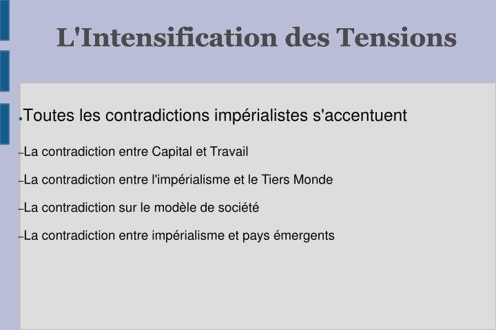 L'Intensification des Tensions