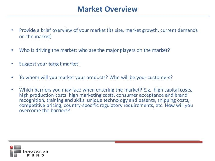 Provide a brief overview of your market (its size, market growth, current demands on the market)