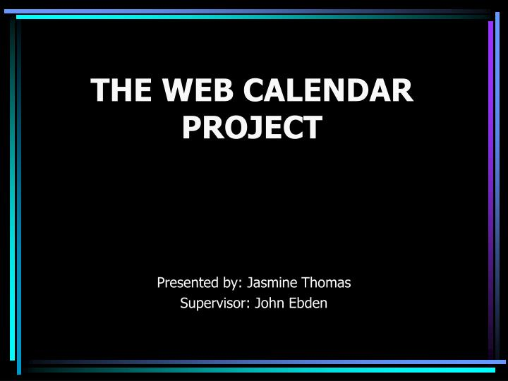 The web calendar project