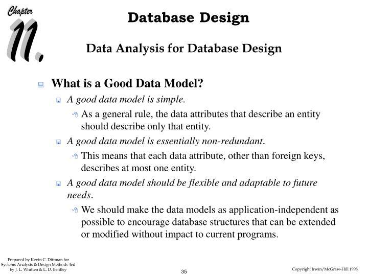 Data Analysis for Database Design