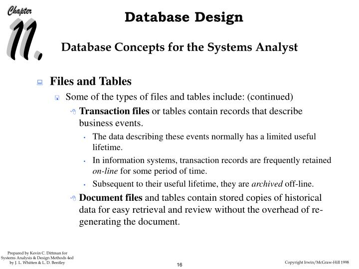 Database Concepts for the Systems Analyst