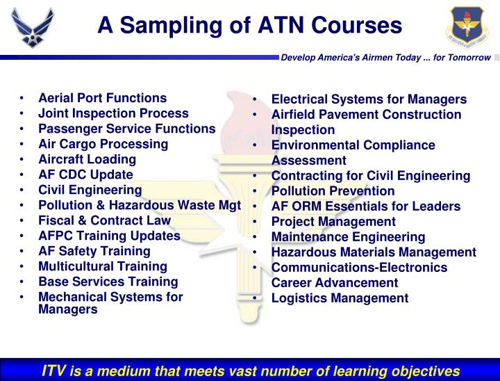 A Sampling of ATN Courses
