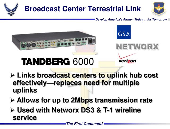 Broadcast Center Terrestrial Link