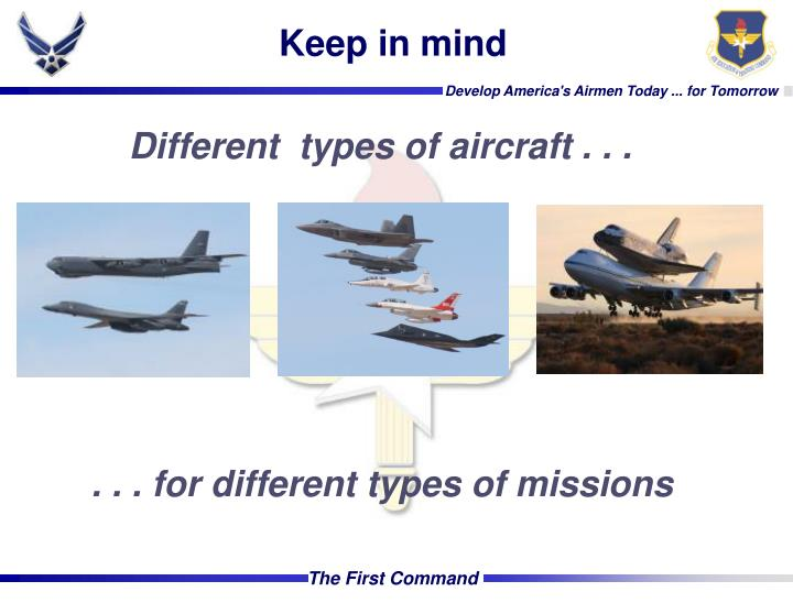 Different  types of aircraft . . .