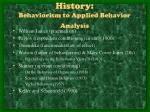 history behaviorism to applied behavior analysis