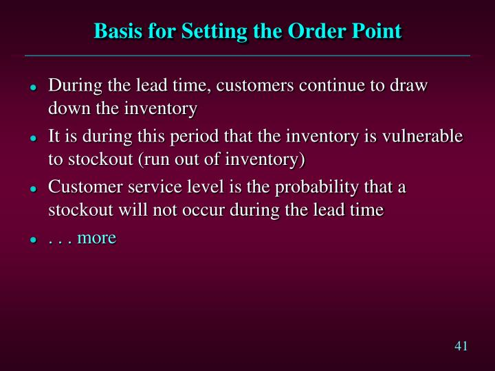 Basis for Setting the Order Point