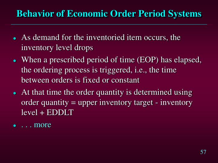 Behavior of Economic Order Period Systems