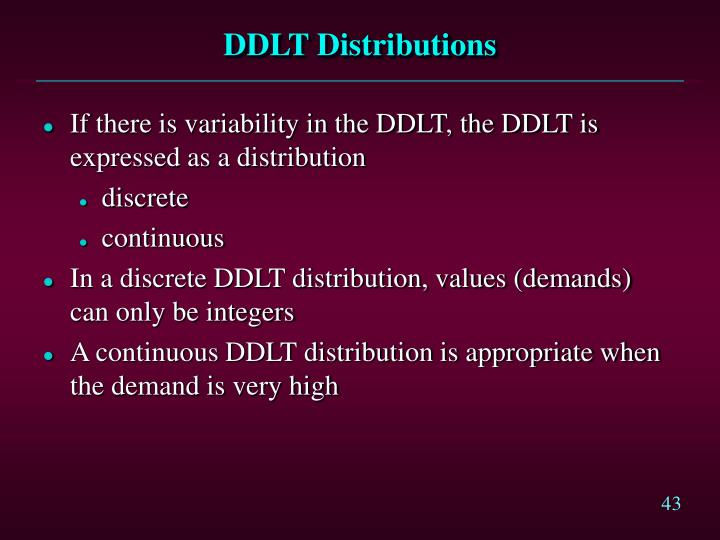 DDLT Distributions