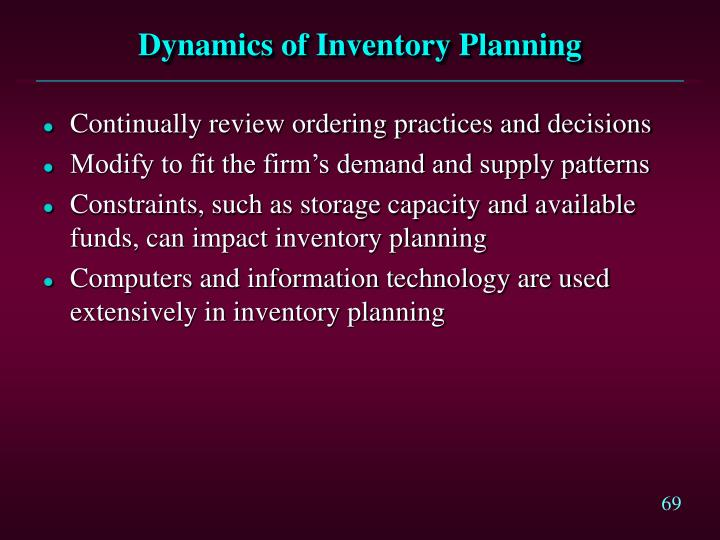 Dynamics of Inventory Planning