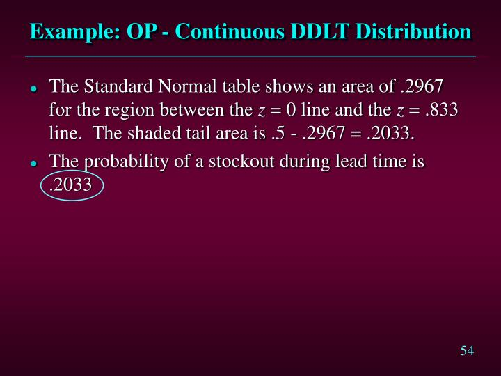 Example: OP - Continuous DDLT Distribution