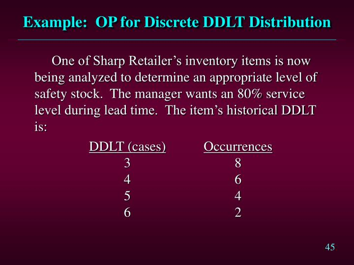 Example:  OP for Discrete DDLT Distribution