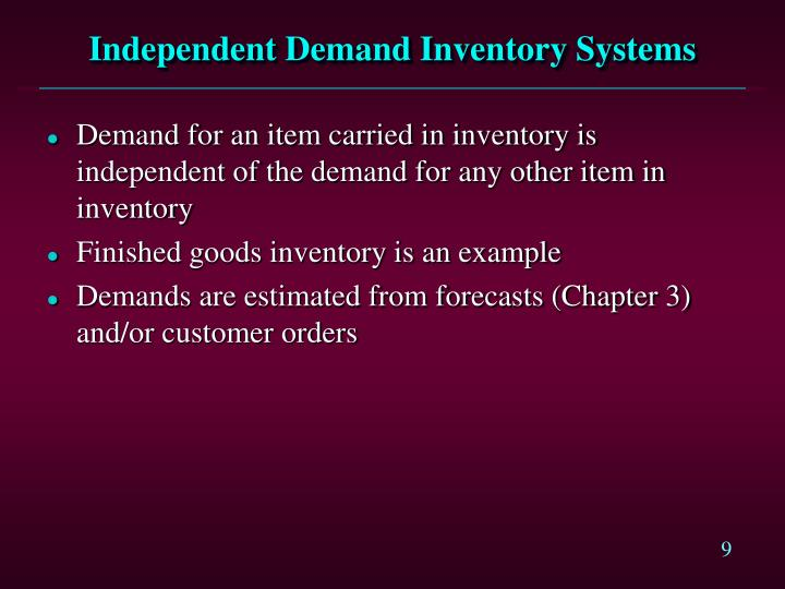 Independent Demand Inventory Systems