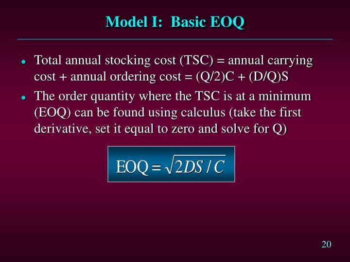 Model I:  Basic EOQ