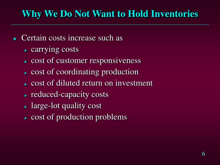 Why We Do Not Want to Hold Inventories