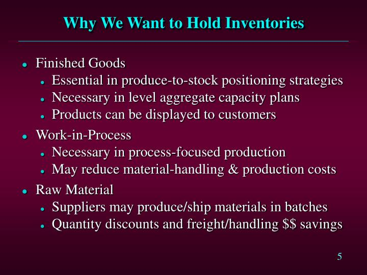 Why We Want to Hold Inventories