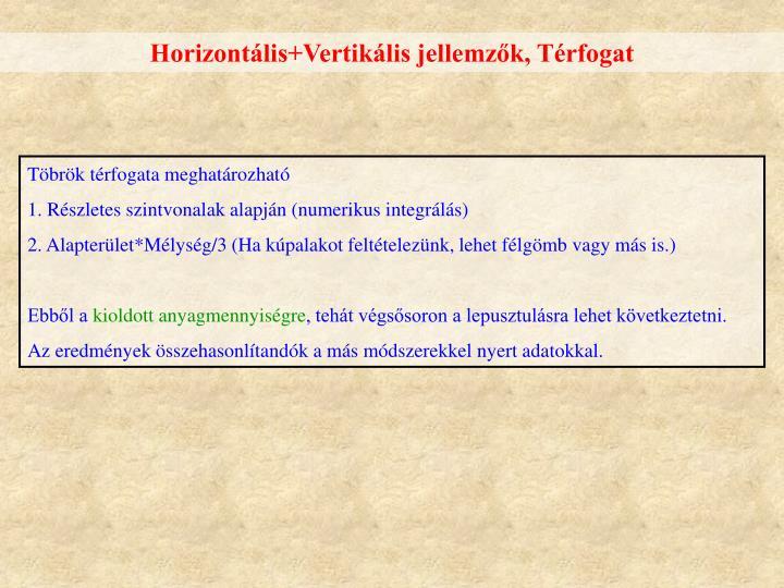 Horizontális+Vertikális jellemzők, Térfogat