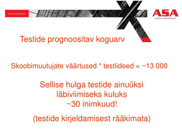 Testide prognoositav koguarv