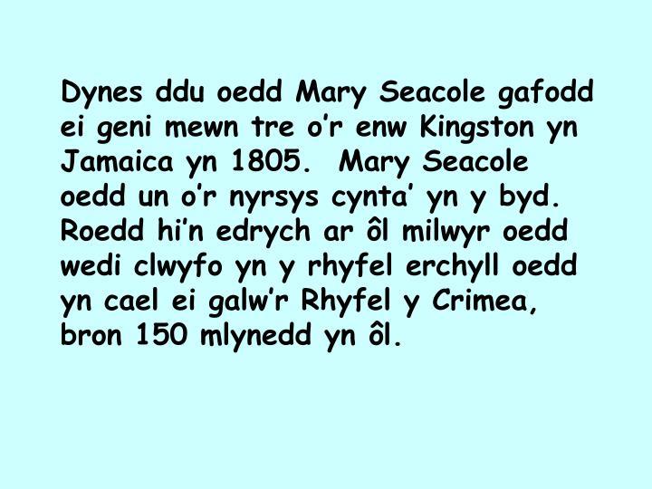 Dynes ddu oedd Mary Seacole gafodd ei geni mewn tre o'r enw Kingston yn Jamaica yn 1805.  Mary Seacole oedd un o'r nyrsys cynta' yn y byd.