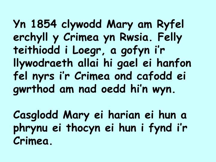 Yn 1854 clywodd Mary am Ryfel erchyll y Crimea yn Rwsia. Felly teithiodd i Loegr, a gofyn i'r llywodraeth allai hi gael ei hanfon fel nyrs i'r Crimea ond cafodd ei gwrthod am nad oedd hi'n wyn.