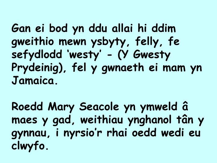 Gan ei bod yn ddu allai hi ddim gweithio mewn ysbyty, felly, fe sefydlodd 'westy' - (Y Gwesty Prydeinig), fel y gwnaeth ei mam yn Jamaica.