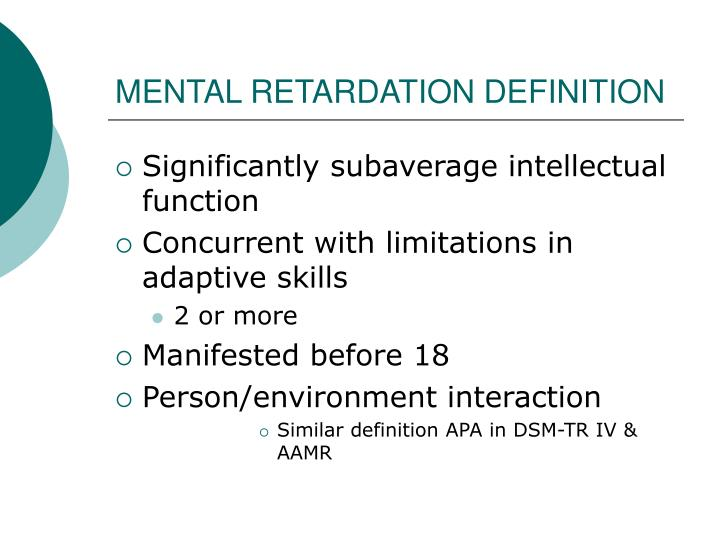 MENTAL RETARDATION DEFINITION