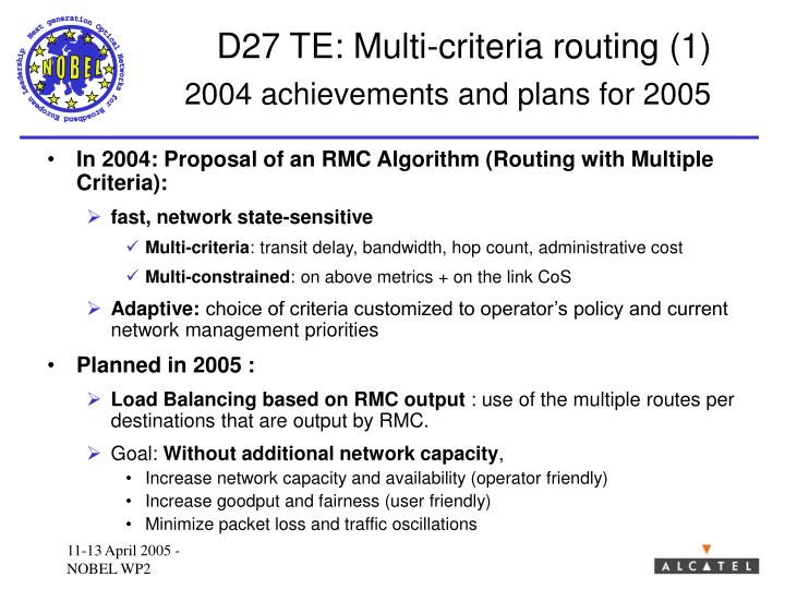 D27 TE: Multi-criteria routing (1)