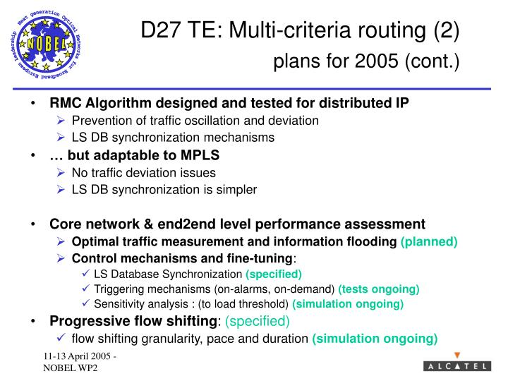 D27 TE: Multi-criteria routing (2)