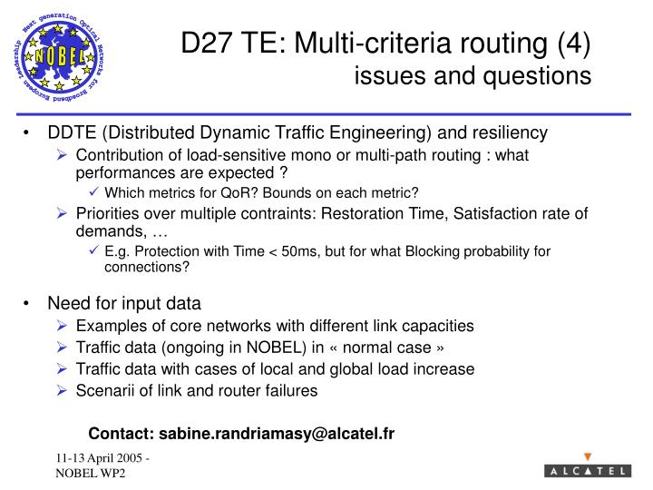 D27 TE: Multi-criteria routing (4)