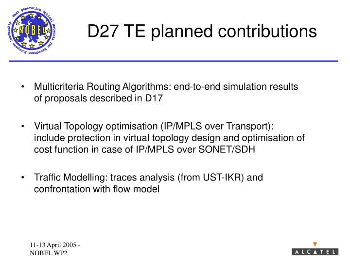 D27 TE planned contributions