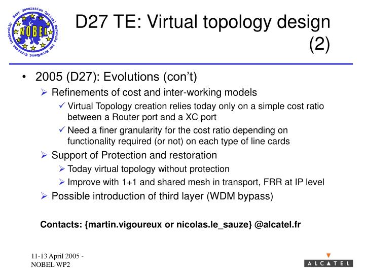 D27 TE: Virtual topology design (2)