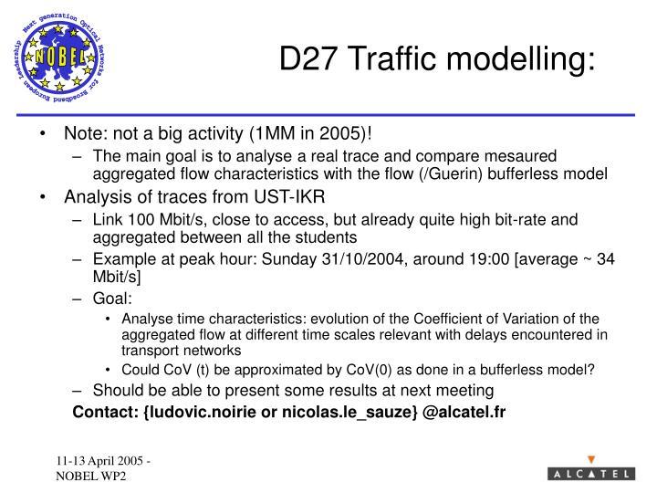 D27 Traffic modelling: