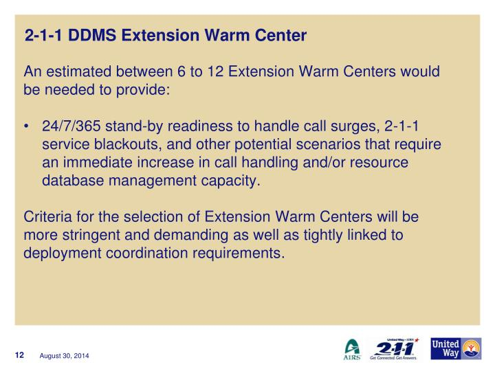 2-1-1 DDMS Extension Warm Center