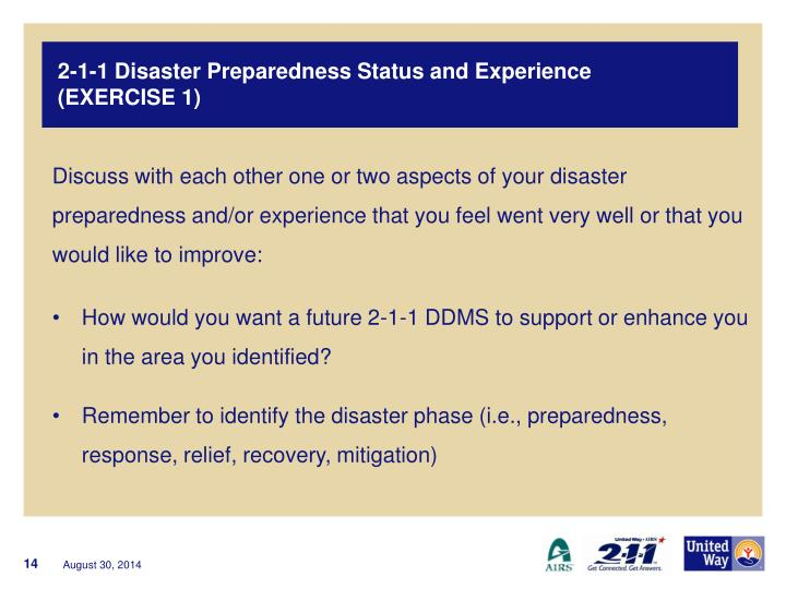 2-1-1 Disaster Preparedness Status and Experience