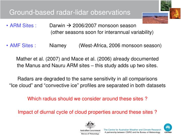 Ground-based radar-lidar observations