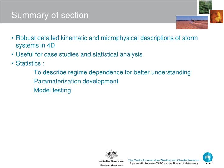 Summary of section