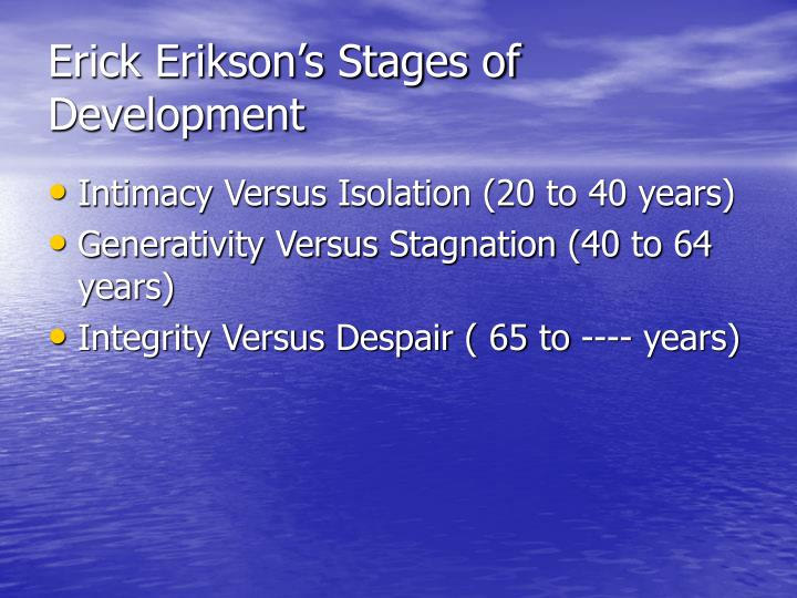 Erick Erikson's Stages of Development