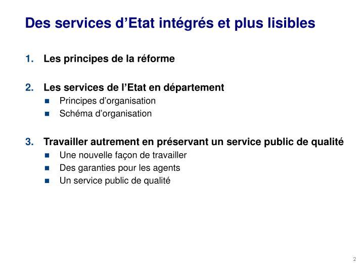 Des services d'Etat intégrés et plus lisibles