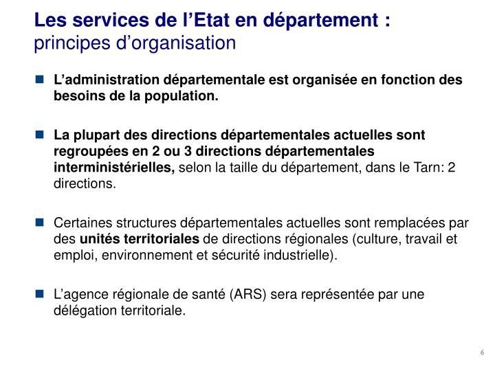 Les services de l'Etat en département :