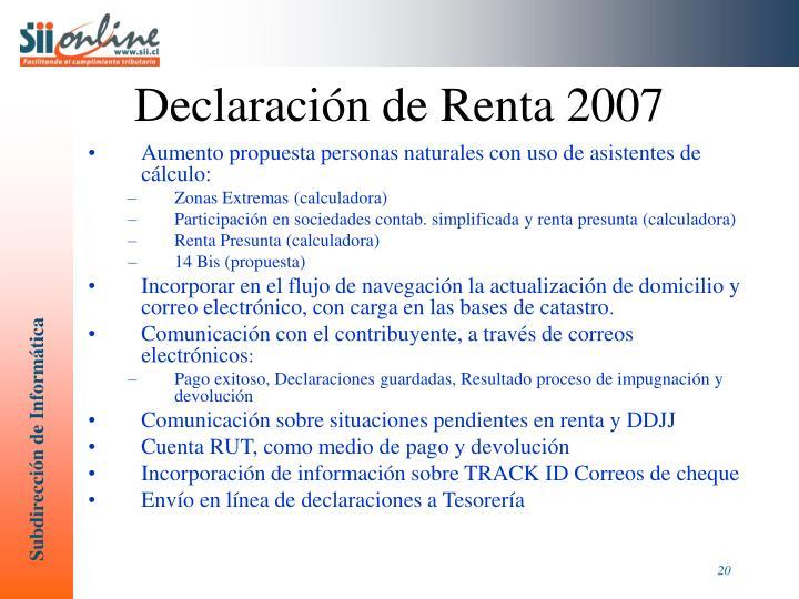Declaración de Renta 2007