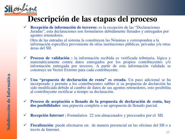 Descripción de las etapas del proceso
