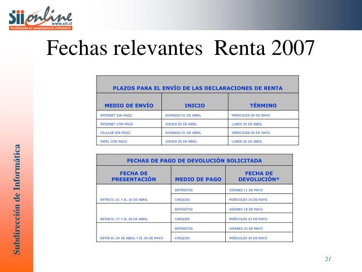 Fechas relevantes  Renta 2007