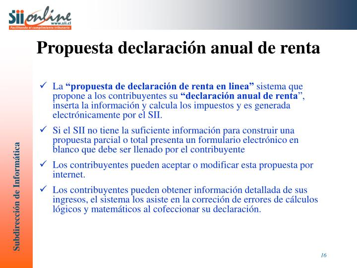 Propuesta declaración anual de renta