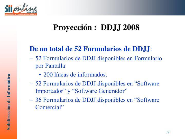 Proyección :  DDJJ 2008